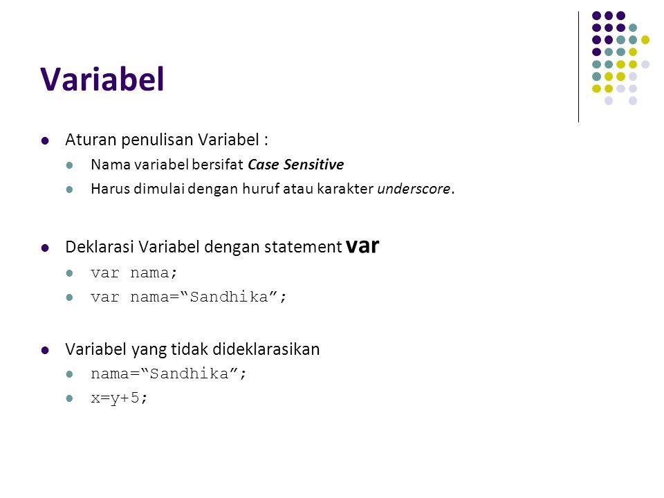 Variabel Aturan penulisan Variabel : Nama variabel bersifat Case Sensitive Harus dimulai dengan huruf atau karakter underscore. Deklarasi Variabel den