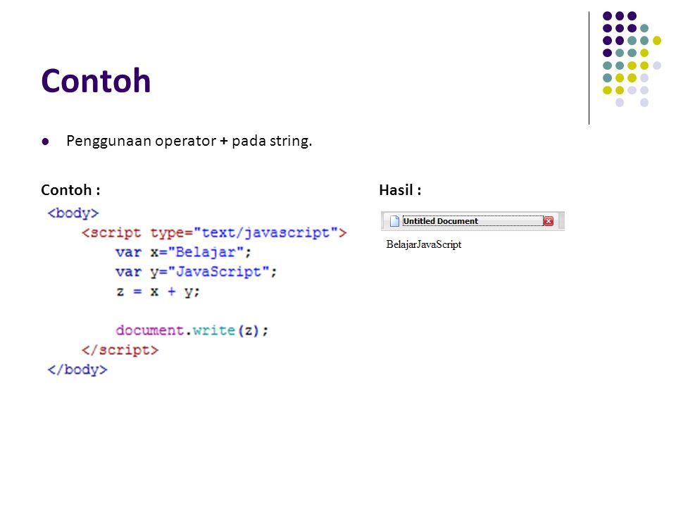 Contoh Penggunaan operator + pada string. Contoh :Hasil :
