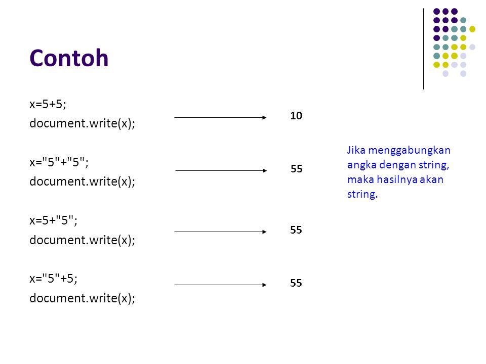 Contoh x=5+5; document.write(x); x=