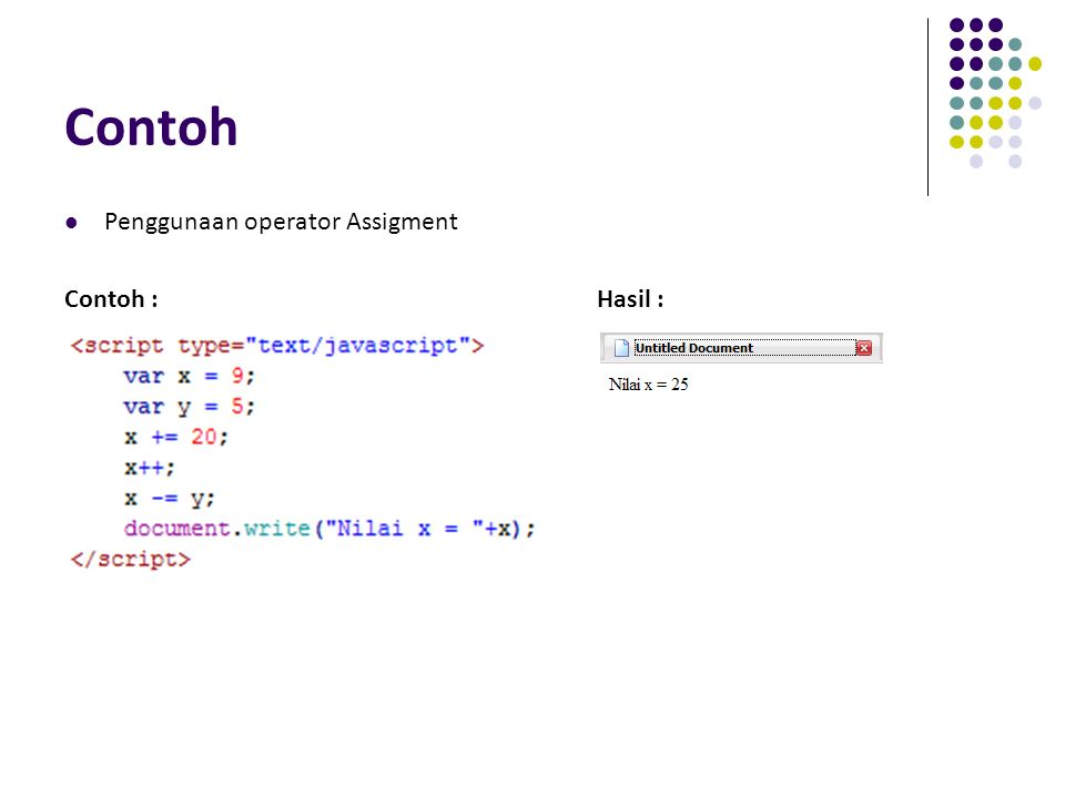 Contoh Penggunaan operator Assigment Contoh :Hasil :