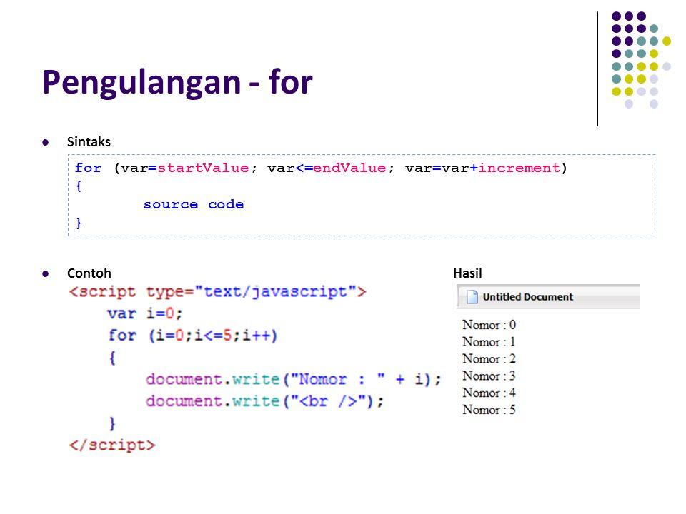 Pengulangan - for Sintaks ContohHasil for (var=startValue; var<=endValue; var=var+increment) { source code }