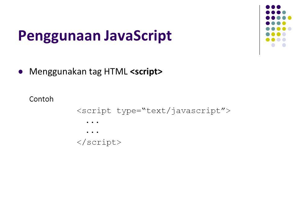 Penggunaan JavaScript Menggunakan tag HTML Contoh......