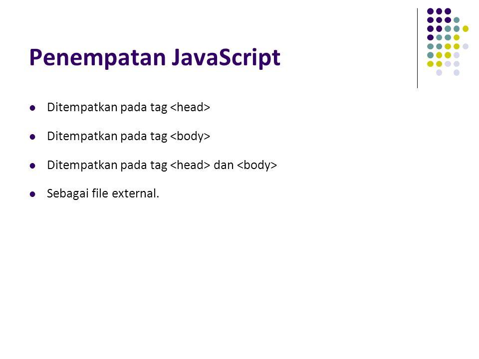 Penempatan JavaScript Ditempatkan pada tag Ditempatkan pada tag dan Sebagai file external.