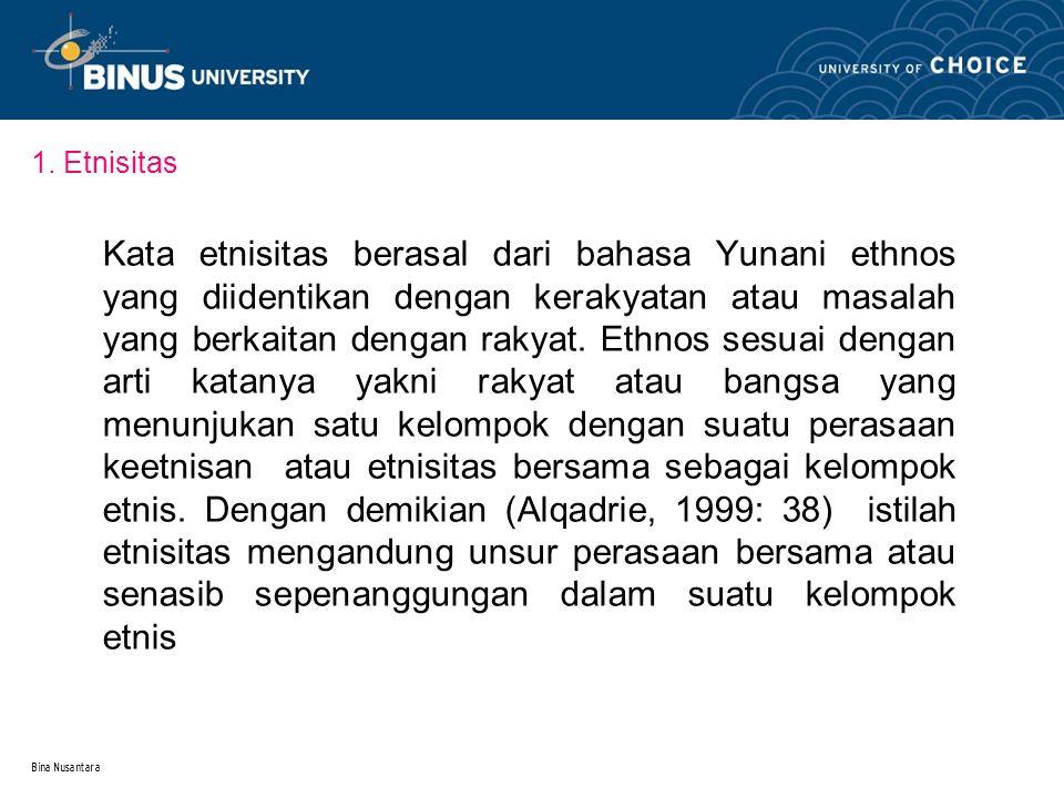 Bina Nusantara Etnisitas di dasarkan pada dua hal yakni kesamaan kebudayaan dan dan perbedaan dalam suatu masyarakat dan bangsa.