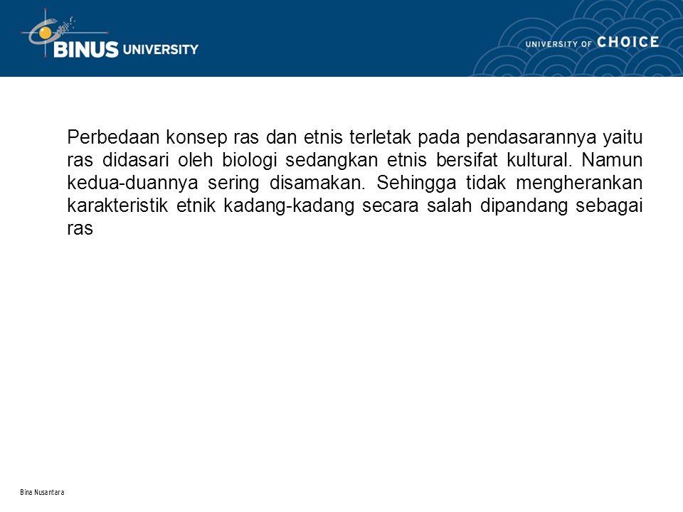 Bina Nusantara 3.Kelompok Minoritas Kelompok minoritas merupakan kategori masyarakat ditentukan oleh karakteristik biologis dan kultural yang mana juga secara sosial tidak beruntung.