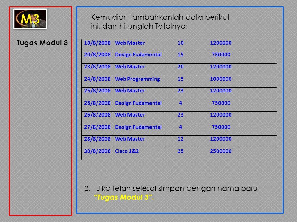 """Tugas Modul 3 Kemudian tambahkanlah data berikut ini, dan hitunglah Totalnya: 2. Jika telah selesai simpan dengan nama baru """" Tugas Modul 3"""". 18/8/200"""