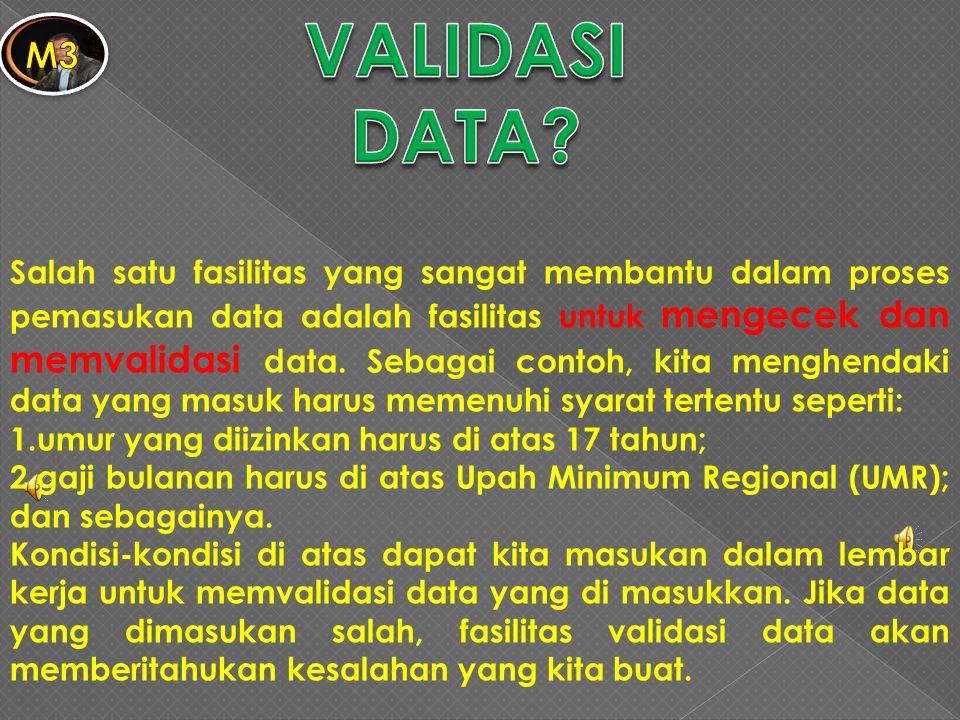 Salah satu fasilitas yang sangat membantu dalam proses pemasukan data adalah fasilitas untuk mengecek dan memvalidasi data. Sebagai contoh, kita mengh