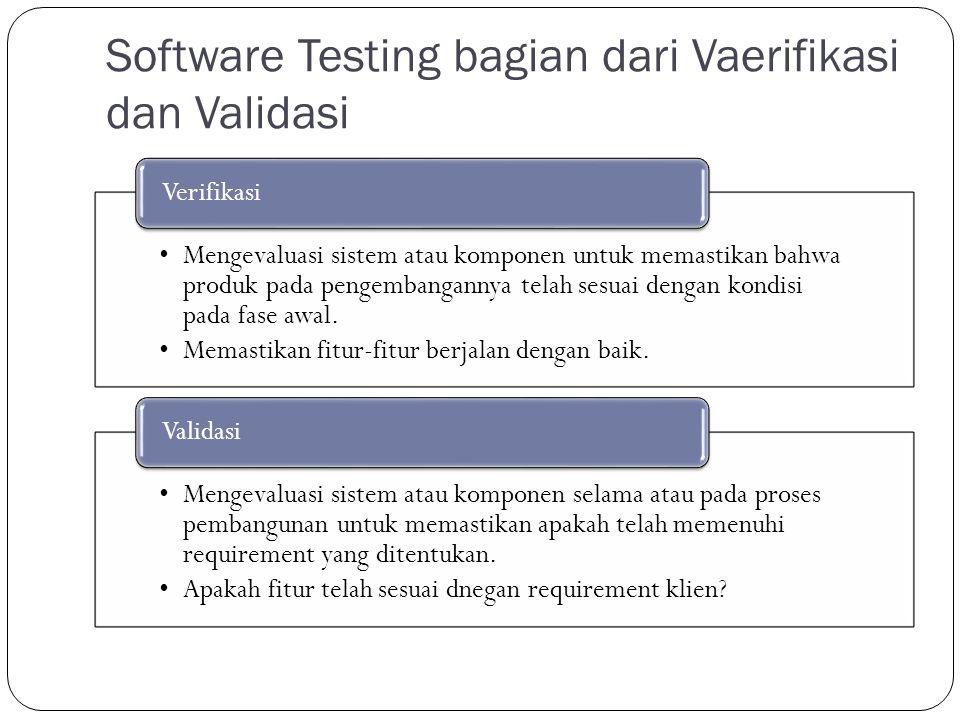 Software Testing bagian dari Vaerifikasi dan Validasi Mengevaluasi sistem atau komponen untuk memastikan bahwa produk pada pengembangannya telah sesuai dengan kondisi pada fase awal.