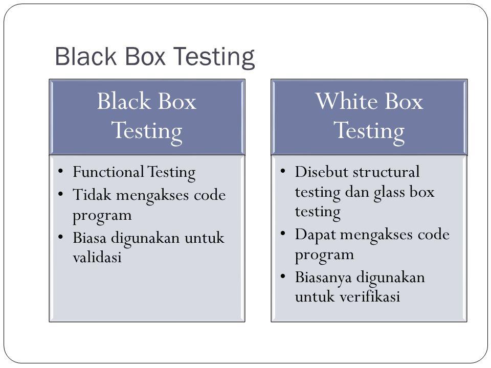 Black Box Testing Functional Testing Tidak mengakses code program Biasa digunakan untuk validasi White Box Testing Disebut structural testing dan glass box testing Dapat mengakses code program Biasanya digunakan untuk verifikasi