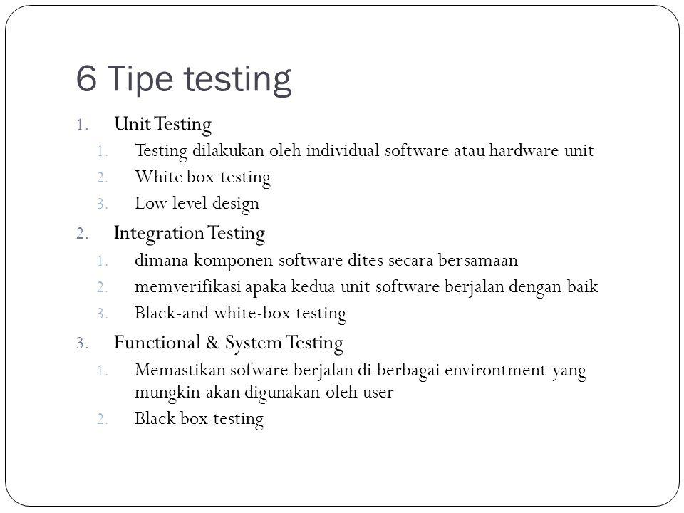 6 Tipe testing 1. Unit Testing 1. Testing dilakukan oleh individual software atau hardware unit 2.