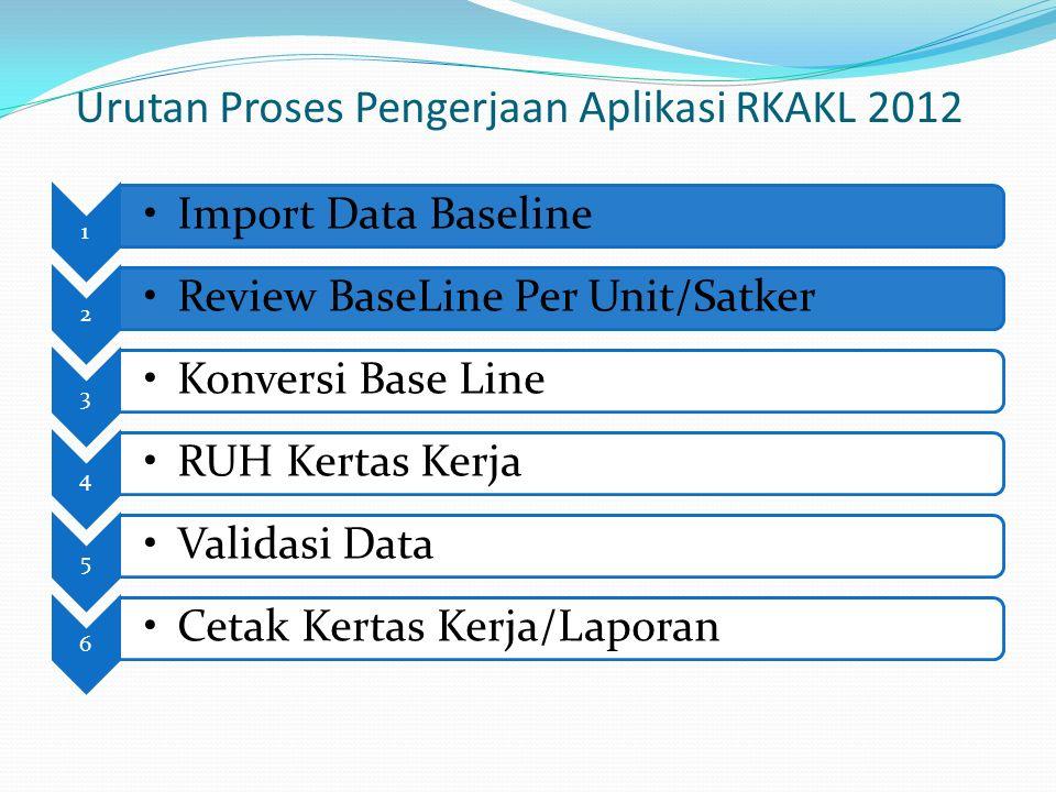 Urutan Proses Pengerjaan Aplikasi RKAKL 2012 1 Import Data Baseline 2 Review BaseLine Per Unit/Satker 3 Konversi Base Line 4 RUH Kertas Kerja 5 Validasi Data 6 Cetak Kertas Kerja/Laporan