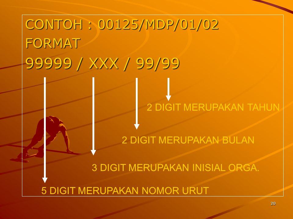 20 CONTOH : 00125/MDP/01/02 FORMAT 99999 / XXX / 99/99 2 DIGIT MERUPAKAN TAHUN 2 DIGIT MERUPAKAN BULAN 3 DIGIT MERUPAKAN INISIAL ORGA. 5 DIGIT MERUPAK