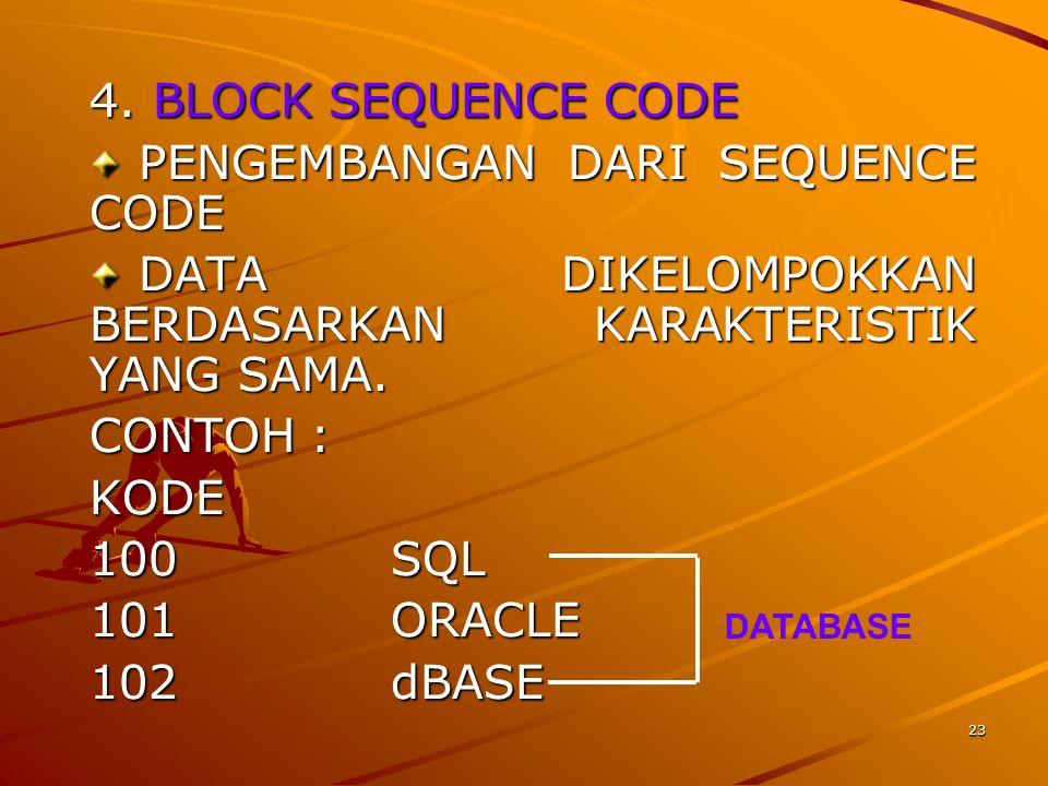 23 4. BLOCK SEQUENCE CODE PENGEMBANGAN DARI SEQUENCE CODE PENGEMBANGAN DARI SEQUENCE CODE DATA DIKELOMPOKKAN BERDASARKAN KARAKTERISTIK YANG SAMA. DATA