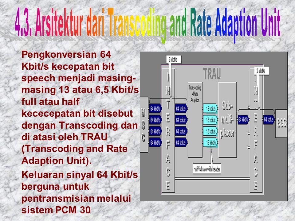 Pengkonversian 64 Kbit/s kecepatan bit speech menjadi masing- masing 13 atau 6,5 Kbit/s full atau half kececepatan bit disebut dengan Transcoding dan di atasi oleh TRAU (Transcoding and Rate Adaption Unit).