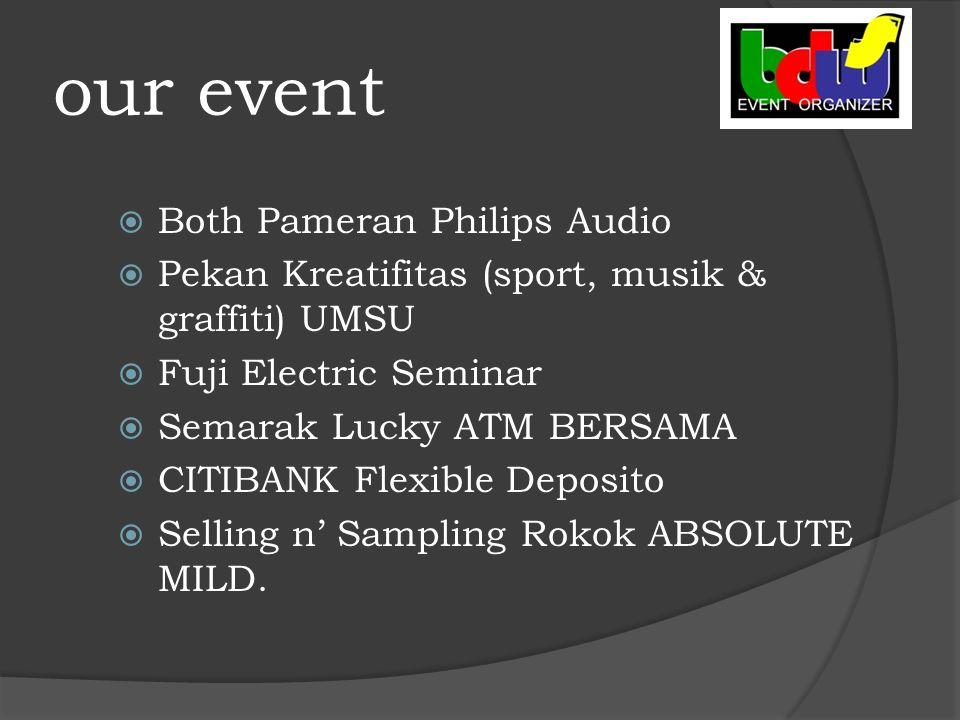 our event  Both Pameran Philips Audio  Pekan Kreatifitas (sport, musik & graffiti) UMSU  Fuji Electric Seminar  Semarak Lucky ATM BERSAMA  CITIBANK Flexible Deposito  Selling n' Sampling Rokok ABSOLUTE MILD.
