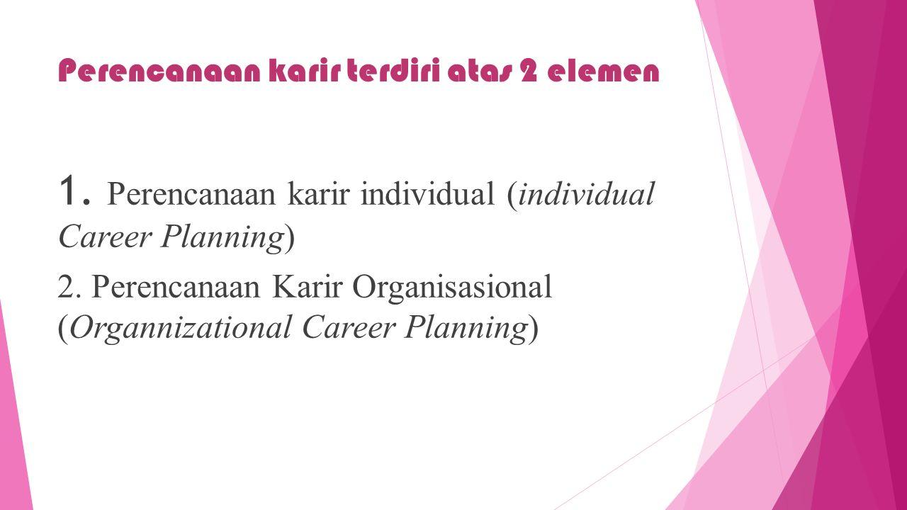 Perencanaan karir terdiri atas 2 elemen 1. Perencanaan karir individual (individual Career Planning) 2. Perencanaan Karir Organisasional (Organnizatio