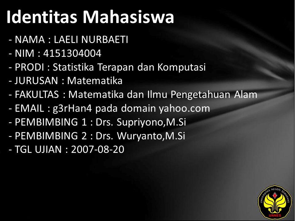 Identitas Mahasiswa - NAMA : LAELI NURBAETI - NIM : 4151304004 - PRODI : Statistika Terapan dan Komputasi - JURUSAN : Matematika - FAKULTAS : Matematika dan Ilmu Pengetahuan Alam - EMAIL : g3rHan4 pada domain yahoo.com - PEMBIMBING 1 : Drs.