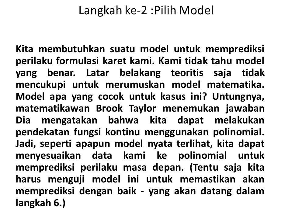 Langkah ke-2 :Pilih Model Kita membutuhkan suatu model untuk memprediksi perilaku formulasi karet kami. Kami tidak tahu model yang benar. Latar belaka
