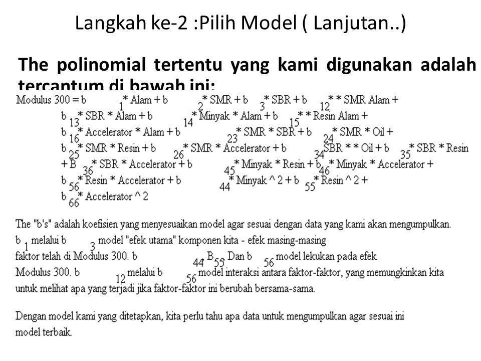 Langkah ke-2 :Pilih Model ( Lanjutan..) The polinomial tertentu yang kami digunakan adalah tercantum di bawah ini: