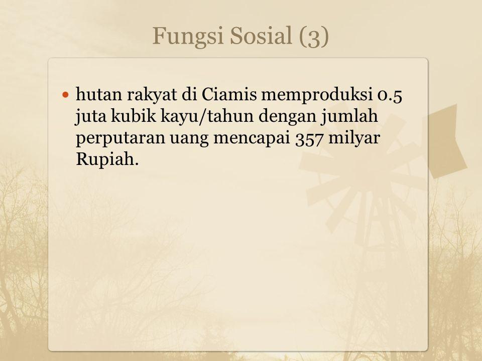 Fungsi Sosial (3) hutan rakyat di Ciamis memproduksi 0.5 juta kubik kayu/tahun dengan jumlah perputaran uang mencapai 357 milyar Rupiah.