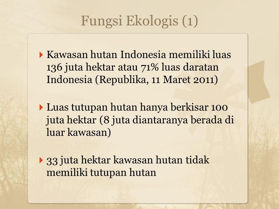 Fungsi Ekologis (1)  Kawasan hutan Indonesia memiliki luas 136 juta hektar atau 71% luas daratan Indonesia (Republika, 11 Maret 2011)  Luas tutupan hutan hanya berkisar 100 juta hektar (8 juta diantaranya berada di luar kawasan)  33 juta hektar kawasan hutan tidak memiliki tutupan hutan