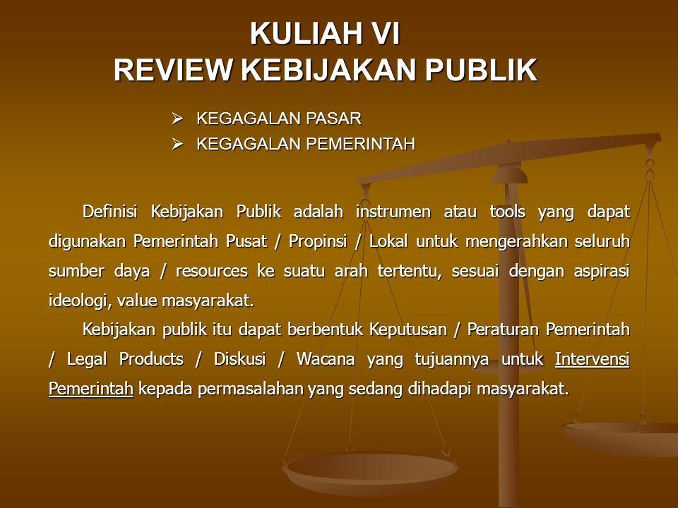 KULIAH VI REVIEW KEBIJAKAN PUBLIK  KEGAGALAN PASAR  KEGAGALAN PEMERINTAH Definisi Kebijakan Publik adalah instrumen atau tools yang dapat digunakan