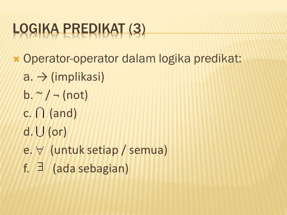 Operator-operator dalam logika predikat: a.→ (implikasi) b.