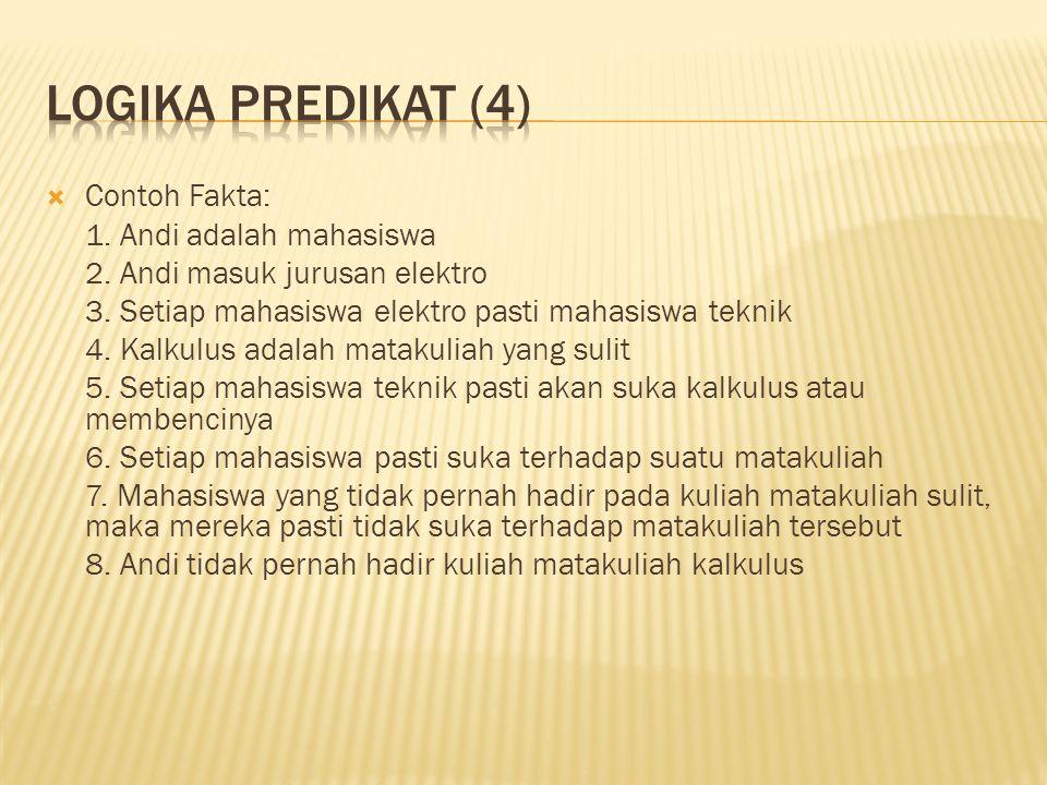  Contoh Fakta: 1.Andi adalah mahasiswa 2. Andi masuk jurusan elektro 3.