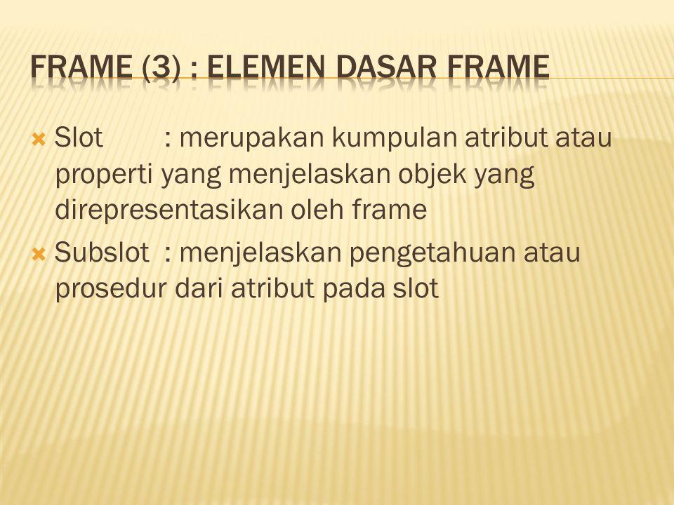  Slot: merupakan kumpulan atribut atau properti yang menjelaskan objek yang direpresentasikan oleh frame  Subslot : menjelaskan pengetahuan atau prosedur dari atribut pada slot