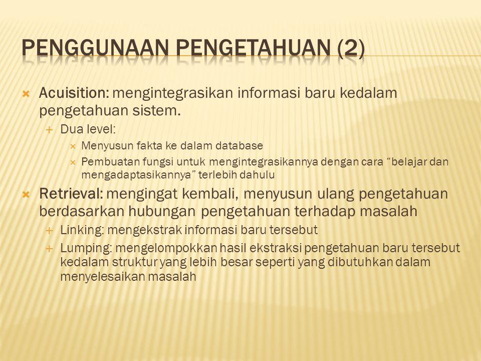  Acuisition: mengintegrasikan informasi baru kedalam pengetahuan sistem.