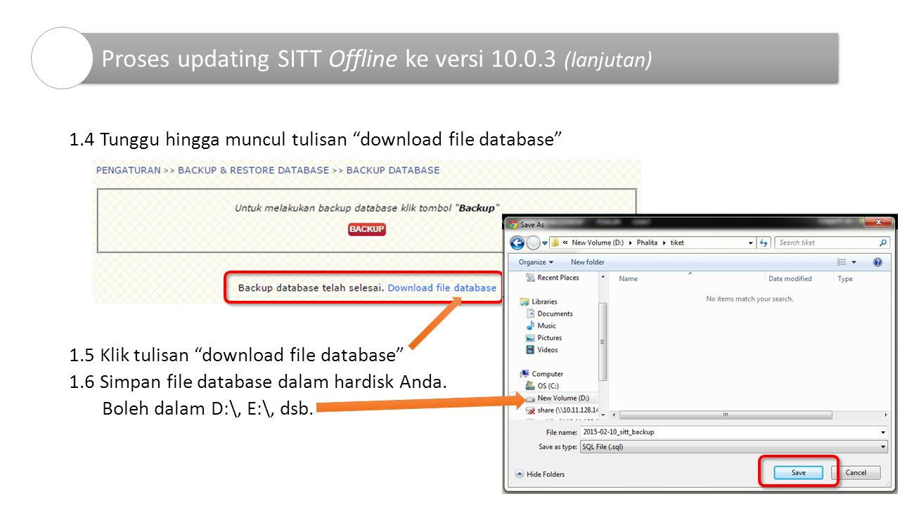 "1.4 Tunggu hingga muncul tulisan ""download file database"" 1.5 Klik tulisan ""download file database"" 1.6 Simpan file database dalam hardisk Anda. Boleh"