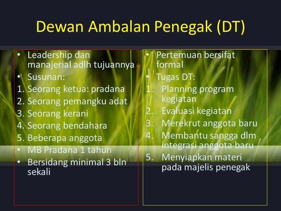 Dewan Ambalan Penegak (DT) Leadership dan manajerial adlh tujuannya Susunan: 1.Seorang ketua: pradana 2.Seorang pemangku adat 3.Seorang kerani 4.Seora