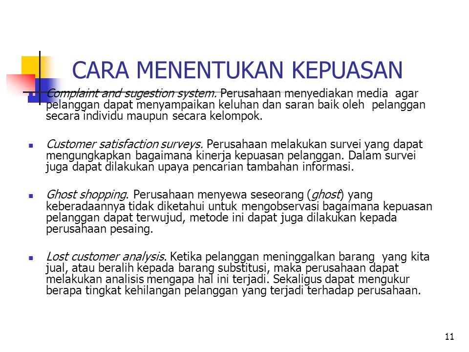 11 CARA MENENTUKAN KEPUASAN Complaint and sugestion system.