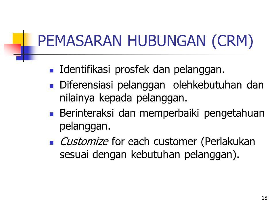 18 PEMASARAN HUBUNGAN (CRM) Identifikasi prosfek dan pelanggan.