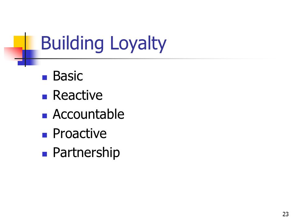 23 Building Loyalty Basic Reactive Accountable Proactive Partnership