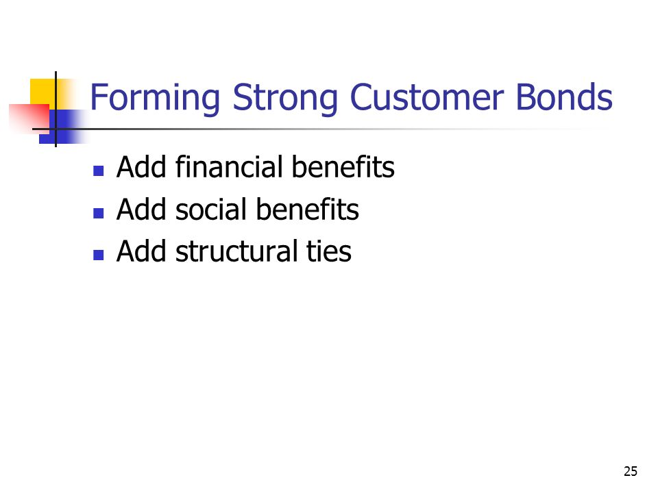 25 Forming Strong Customer Bonds Add financial benefits Add social benefits Add structural ties