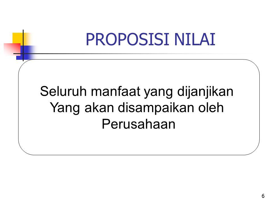 6 PROPOSISI NILAI Seluruh manfaat yang dijanjikan Yang akan disampaikan oleh Perusahaan