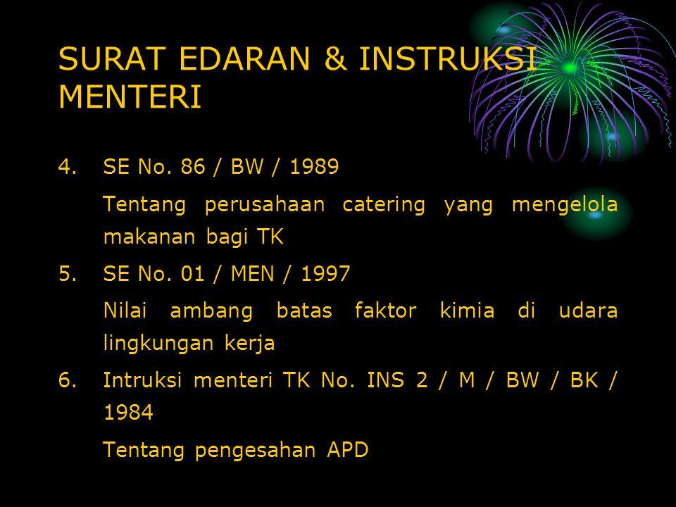 SURAT EDARAN & INSTRUKSI MENTERI 4.SE No. 86 / BW / 1989 Tentang perusahaan catering yang mengelola makanan bagi TK 5.SE No. 01 / MEN / 1997 Nilai amb