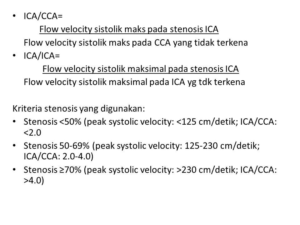 ICA/CCA= Flow velocity sistolik maks pada stenosis ICA Flow velocity sistolik maks pada CCA yang tidak terkena ICA/ICA= Flow velocity sistolik maksima