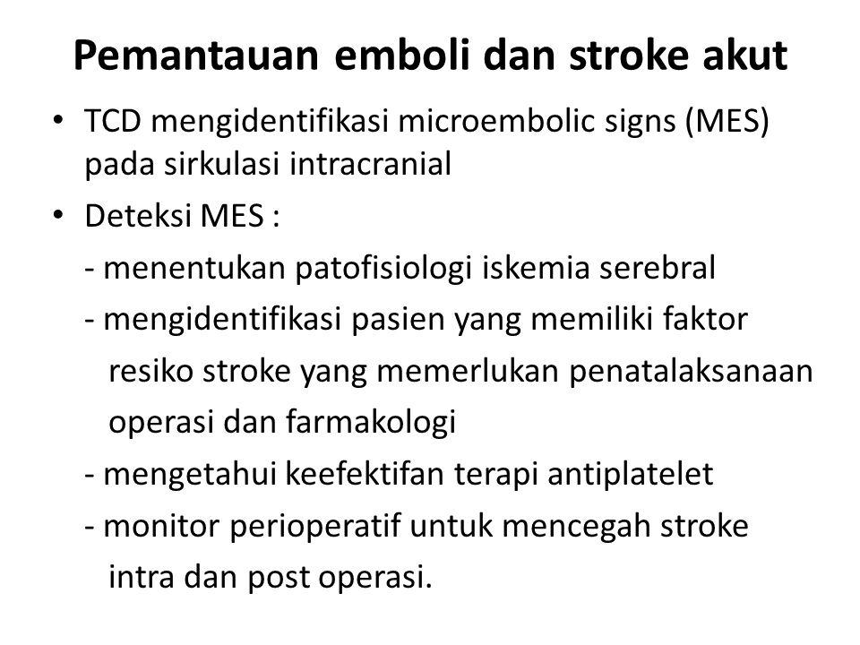 Pemantauan emboli dan stroke akut TCD mengidentifikasi microembolic signs (MES) pada sirkulasi intracranial Deteksi MES : - menentukan patofisiologi i