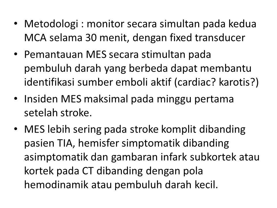 Metodologi : monitor secara simultan pada kedua MCA selama 30 menit, dengan fixed transducer Pemantauan MES secara stimultan pada pembuluh darah yang