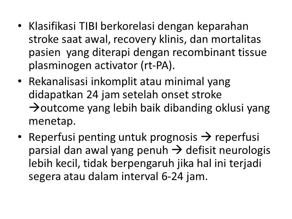Klasifikasi TIBI berkorelasi dengan keparahan stroke saat awal, recovery klinis, dan mortalitas pasien yang diterapi dengan recombinant tissue plasmin