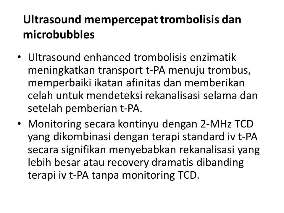 Ultrasound mempercepat trombolisis dan microbubbles Ultrasound enhanced trombolisis enzimatik meningkatkan transport t-PA menuju trombus, memperbaiki