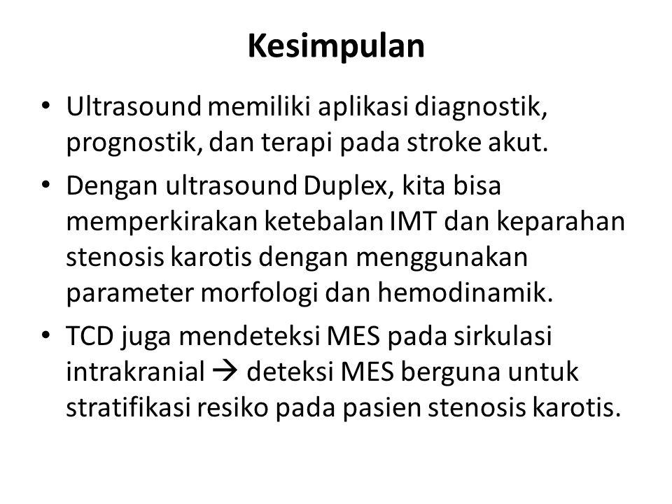 Kesimpulan Ultrasound memiliki aplikasi diagnostik, prognostik, dan terapi pada stroke akut. Dengan ultrasound Duplex, kita bisa memperkirakan ketebal