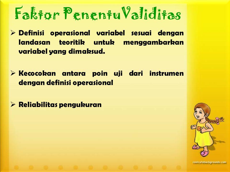Faktor PenentuValiditas  Definisi operasional variabel sesuai dengan landasan teoritik untuk menggambarkan variabel yang dimaksud.