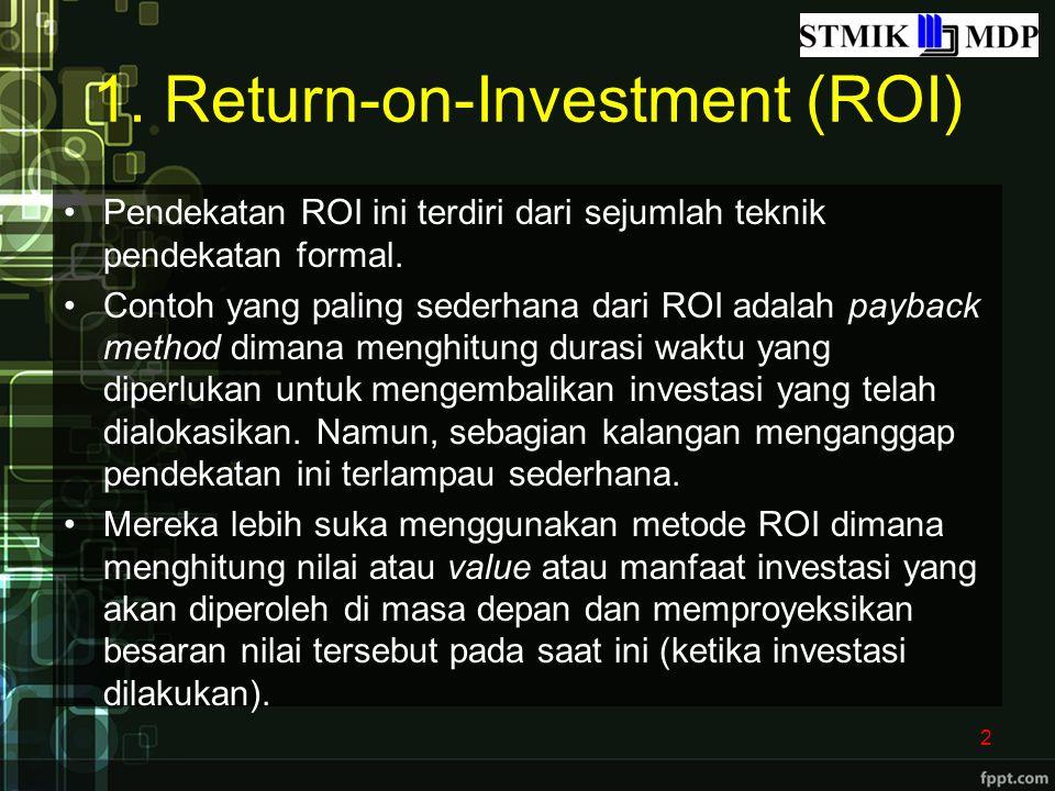 1. Return-on-Investment (ROI) Pendekatan ROI ini terdiri dari sejumlah teknik pendekatan formal. Contoh yang paling sederhana dari ROI adalah payback