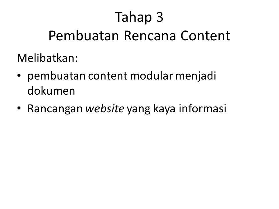 Tahap 3 Pembuatan Rencana Content Melibatkan: pembuatan content modular menjadi dokumen Rancangan website yang kaya informasi