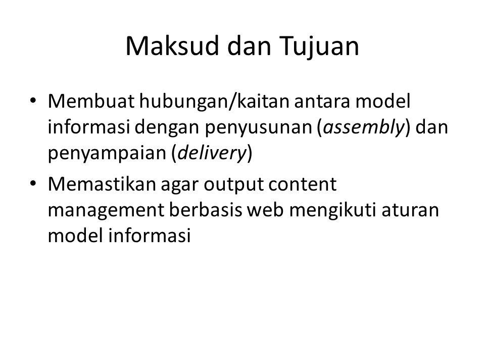Maksud dan Tujuan Membuat hubungan/kaitan antara model informasi dengan penyusunan (assembly) dan penyampaian (delivery) Memastikan agar output content management berbasis web mengikuti aturan model informasi