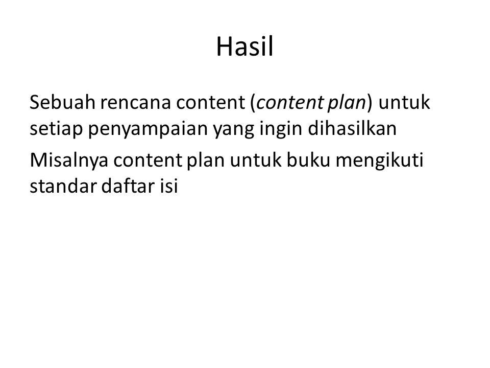 Hasil Sebuah rencana content (content plan) untuk setiap penyampaian yang ingin dihasilkan Misalnya content plan untuk buku mengikuti standar daftar isi