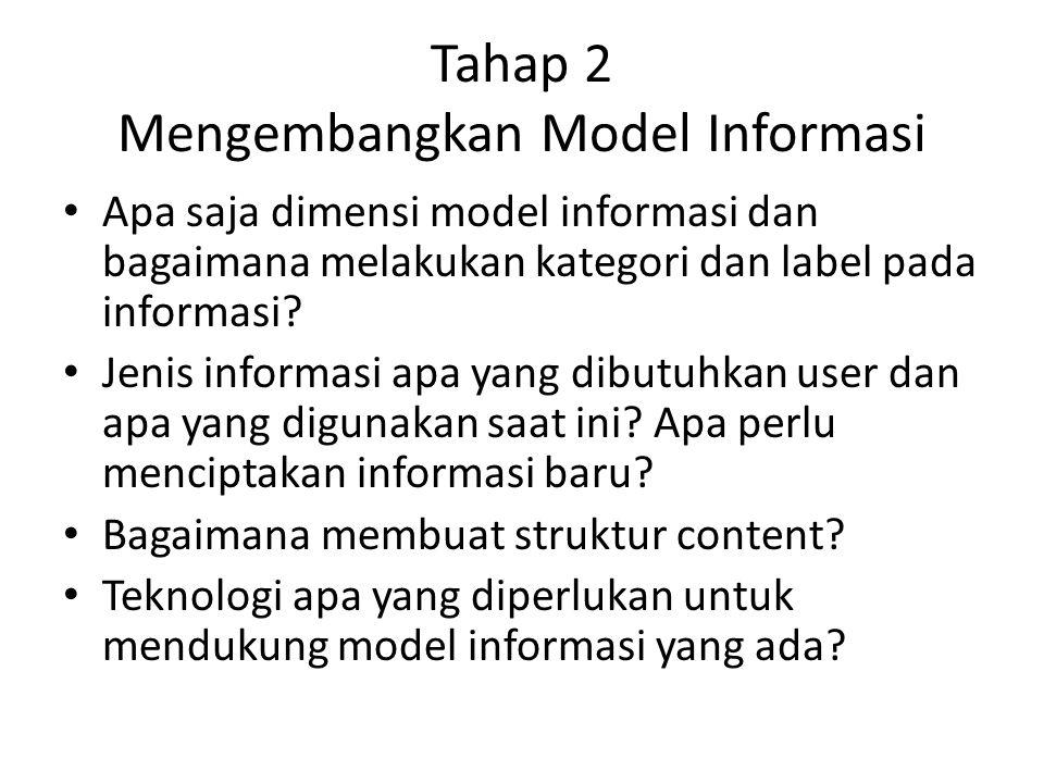 Tahap 2 Mengembangkan Model Informasi Apa saja dimensi model informasi dan bagaimana melakukan kategori dan label pada informasi.